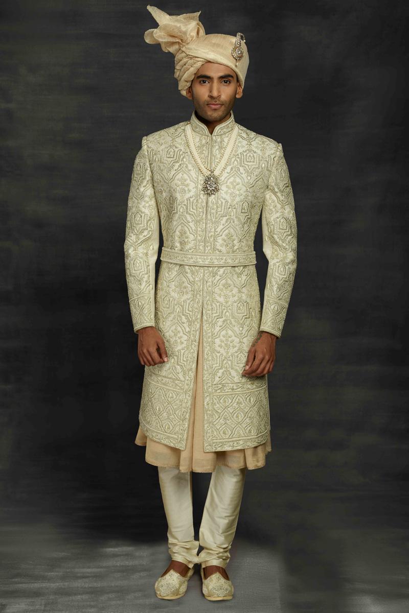 Sea Green Color Fancy Fabric Wedding Wear Designer Sherwani For Groom
