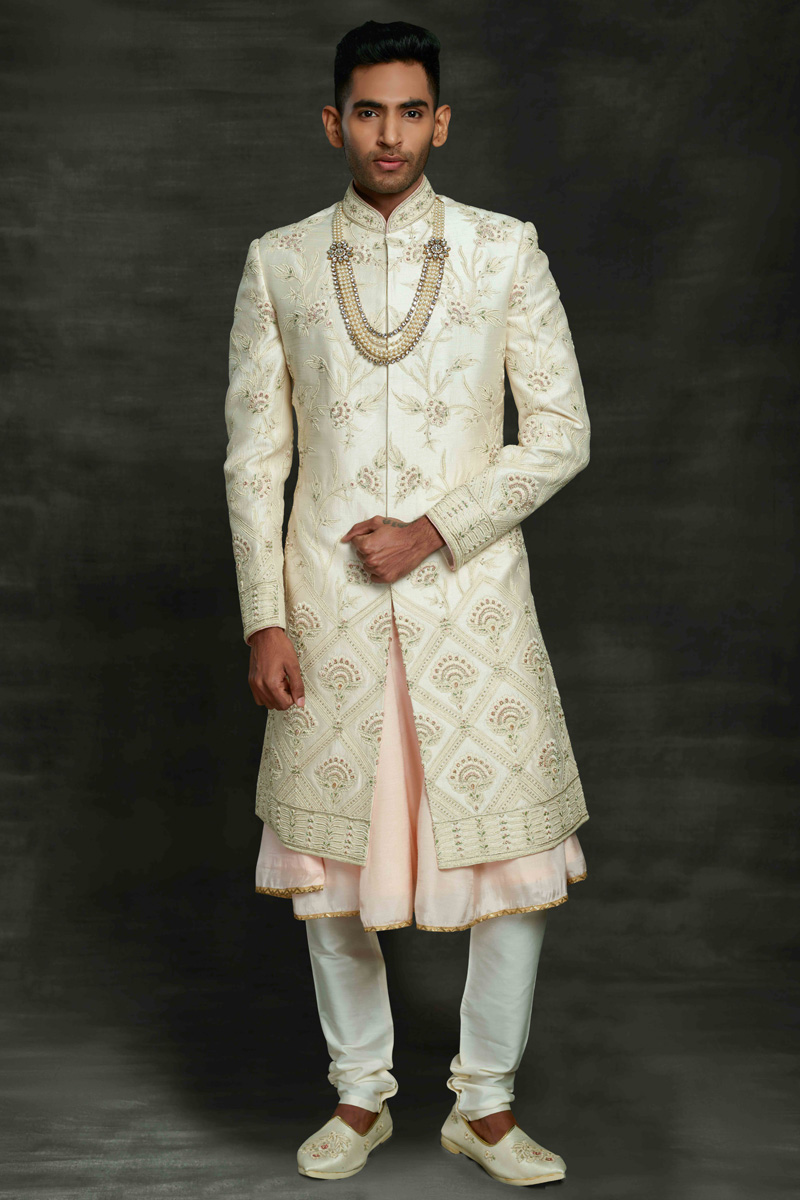 Silk Fabric Wedding Wear Designer Sherwani For Groom