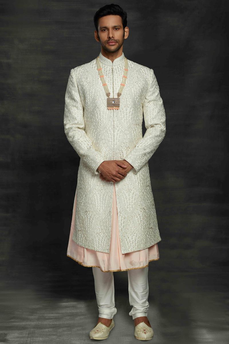 Off White Color Wedding Wear Designer Sherwani For Groom