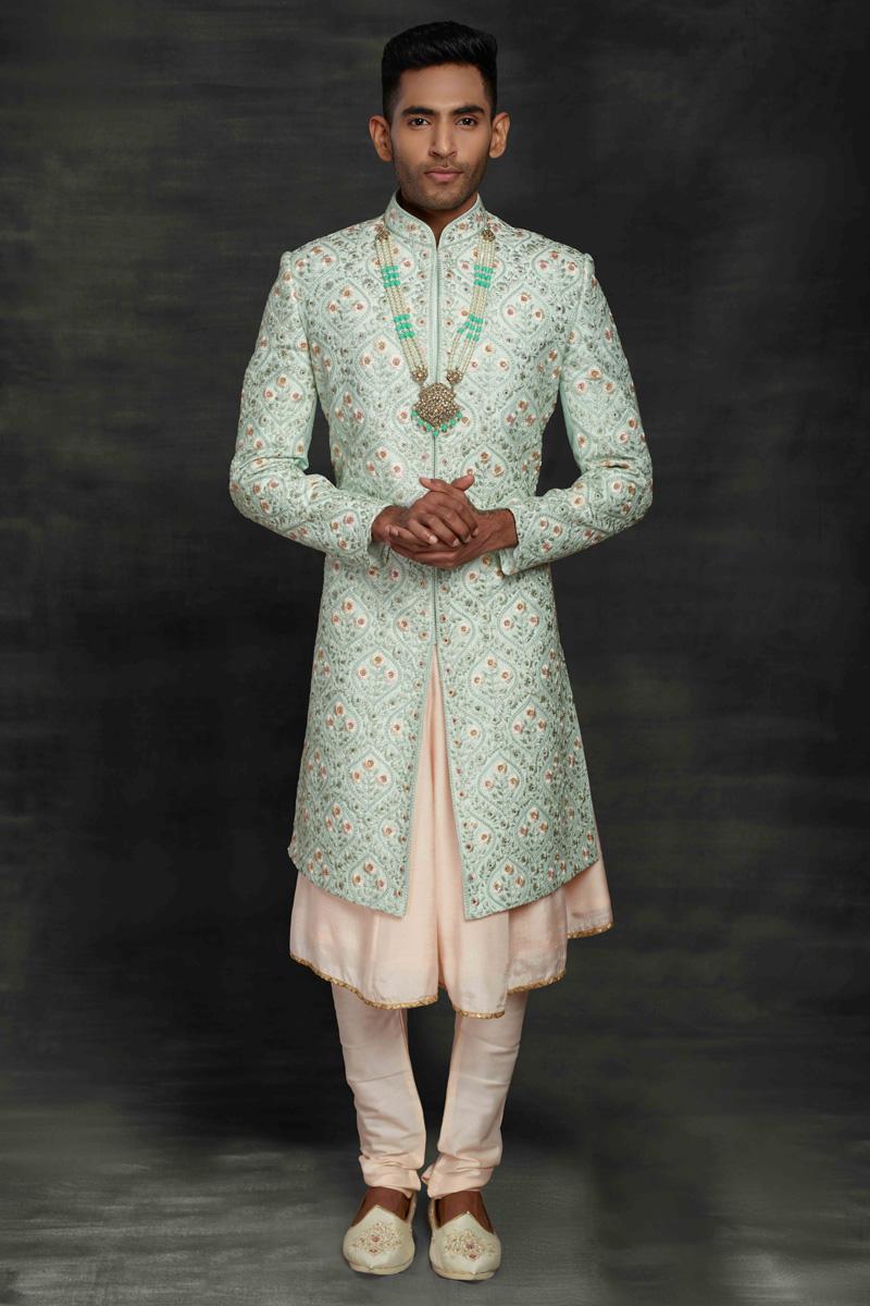 Light Cyan Color Fancy Fabric Wedding Wear Sherwani For Groom