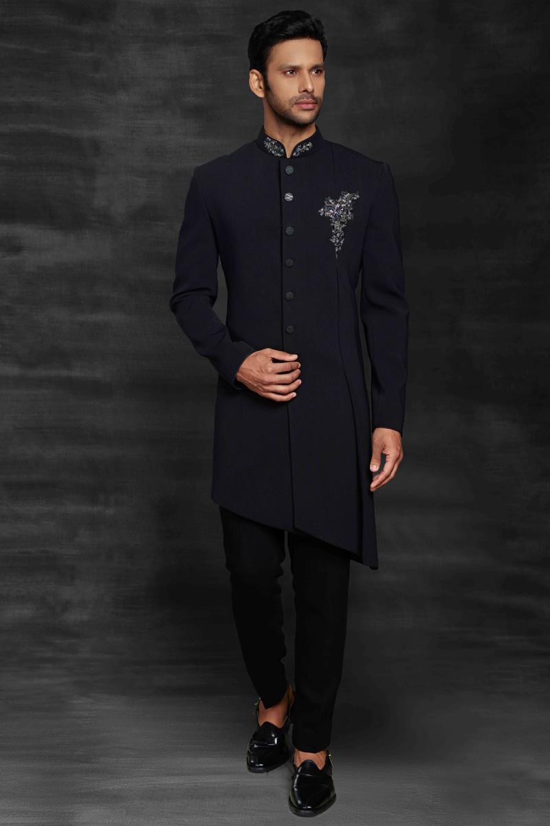 Navy Blue Color Fancy Fabric Sangeet Wear Designer Mens Indo Western