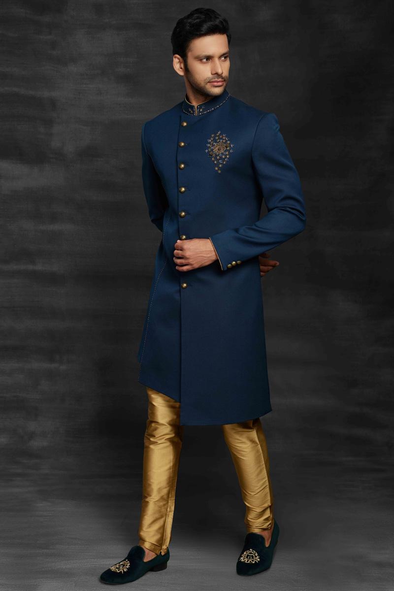 Navy Blue Color Fancy Fabric Wedding Wear Designer Mens Indo Western