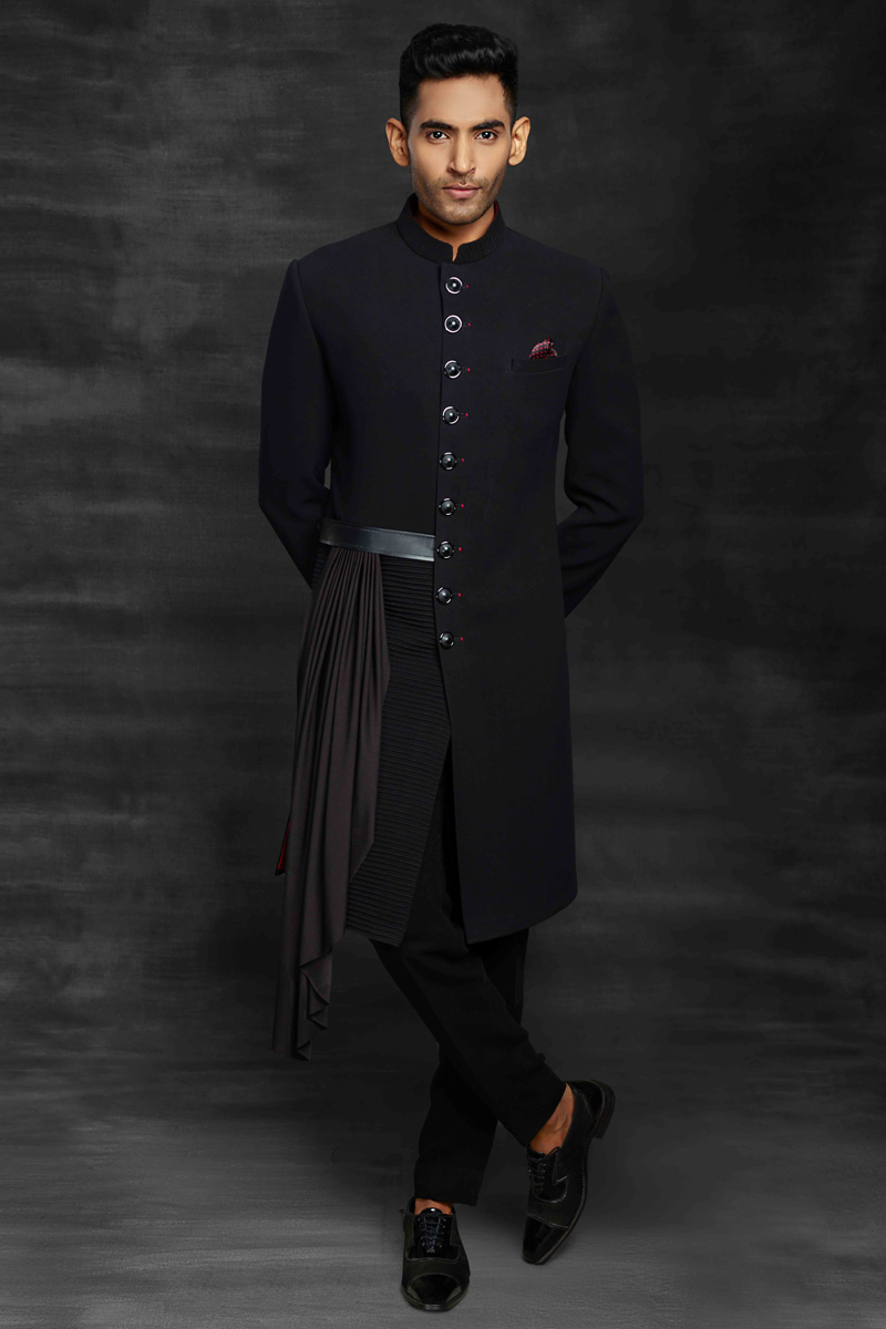 Navy Blue Color Fancy Fabric Reception Wear Designer Mens Indo Western