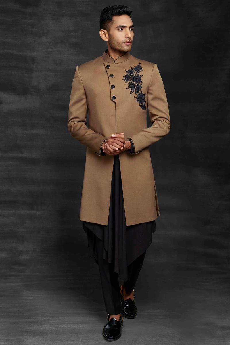 Chikoo Color Fancy Fabric Sangeet Wear Designer Mens Indo Western