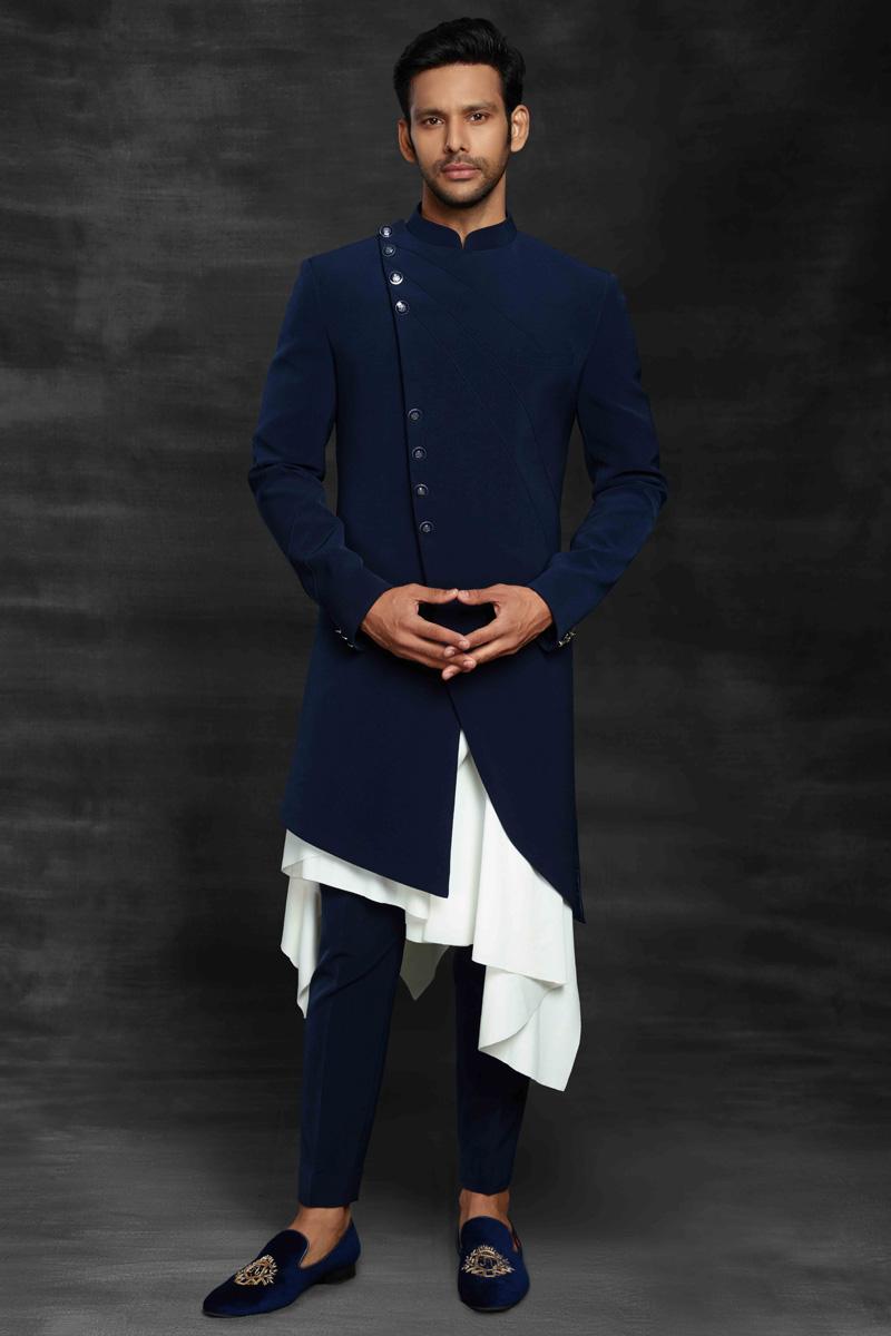 Blue Color Fancy Fabric Sangeet Wear Designer Mens Indo Western