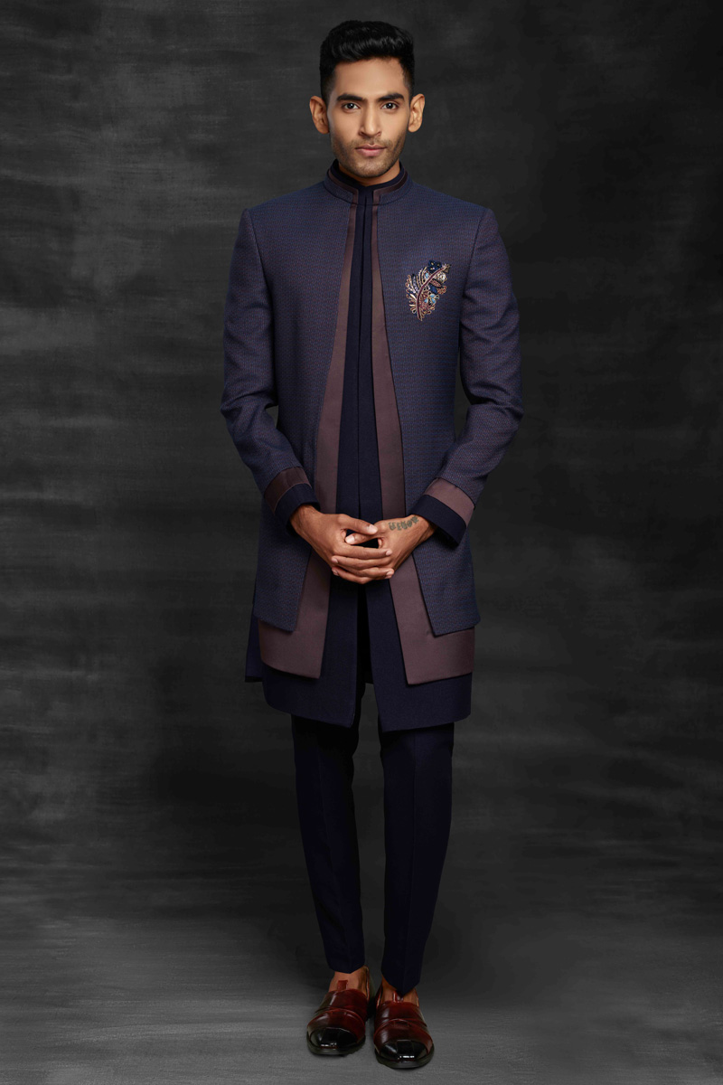 Purple Color Fancy Fabric Sangeet Wear Designer Mens Indo Western