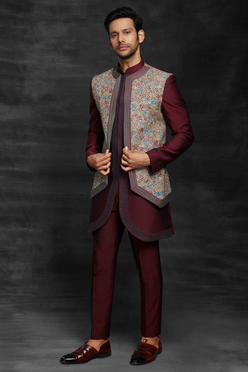 Maroon Color Fancy Fabric Sangeet Wear Designer Mens Indo Western