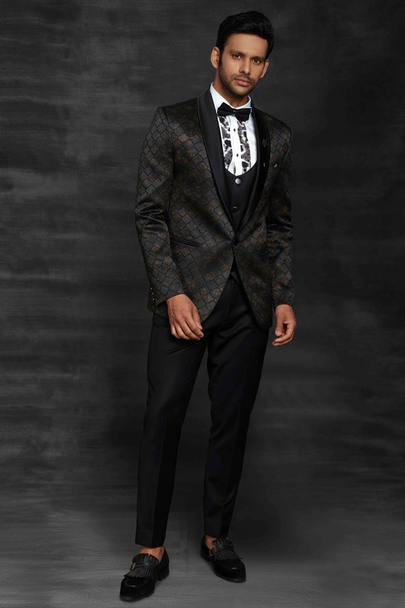 Black Color Fancy Fabric Designer Party Wear Suit For Men
