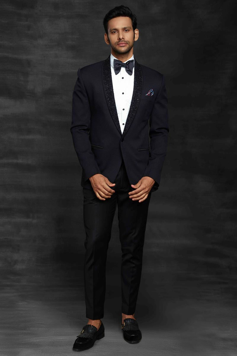 Black Color Fancy Fabric Designer Function Wear Suit For Men
