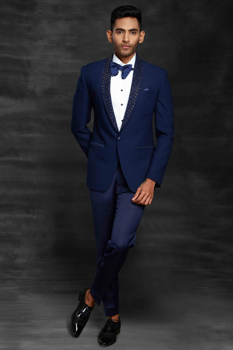 Navy Blue Color Fancy Fabric Designer Wedding Wear Suit For Men