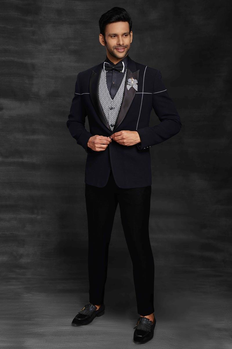Black Color Fancy Fabric Designer Reception Wear Suit For Men