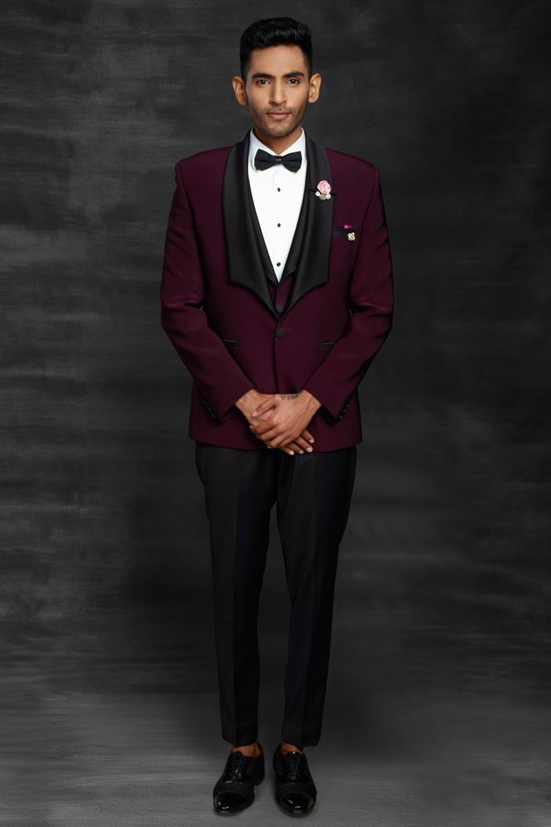 Wine Fancy Fabric Designer Party Wear Suit For Men