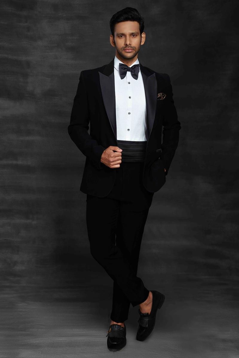 Black Color Designer Party Wear Suit For Men