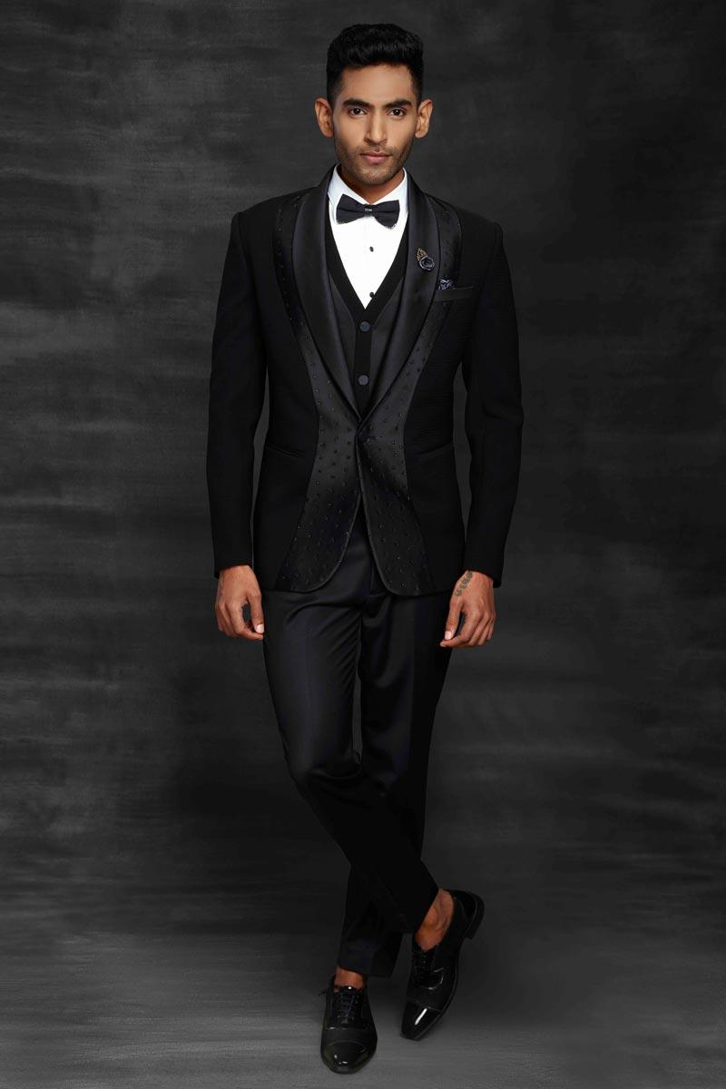 Black Color Fancy Fabric Designer Suit For Men