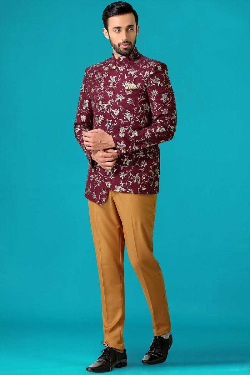 Burgundy Color Velvet Fabric Party Wear Jodhpuri Suit For Men