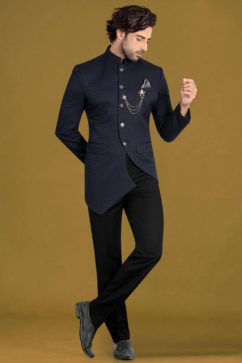 Navy Blue Color Jacquard Fabric Wedding Wear Jodhpuri Suit For Men