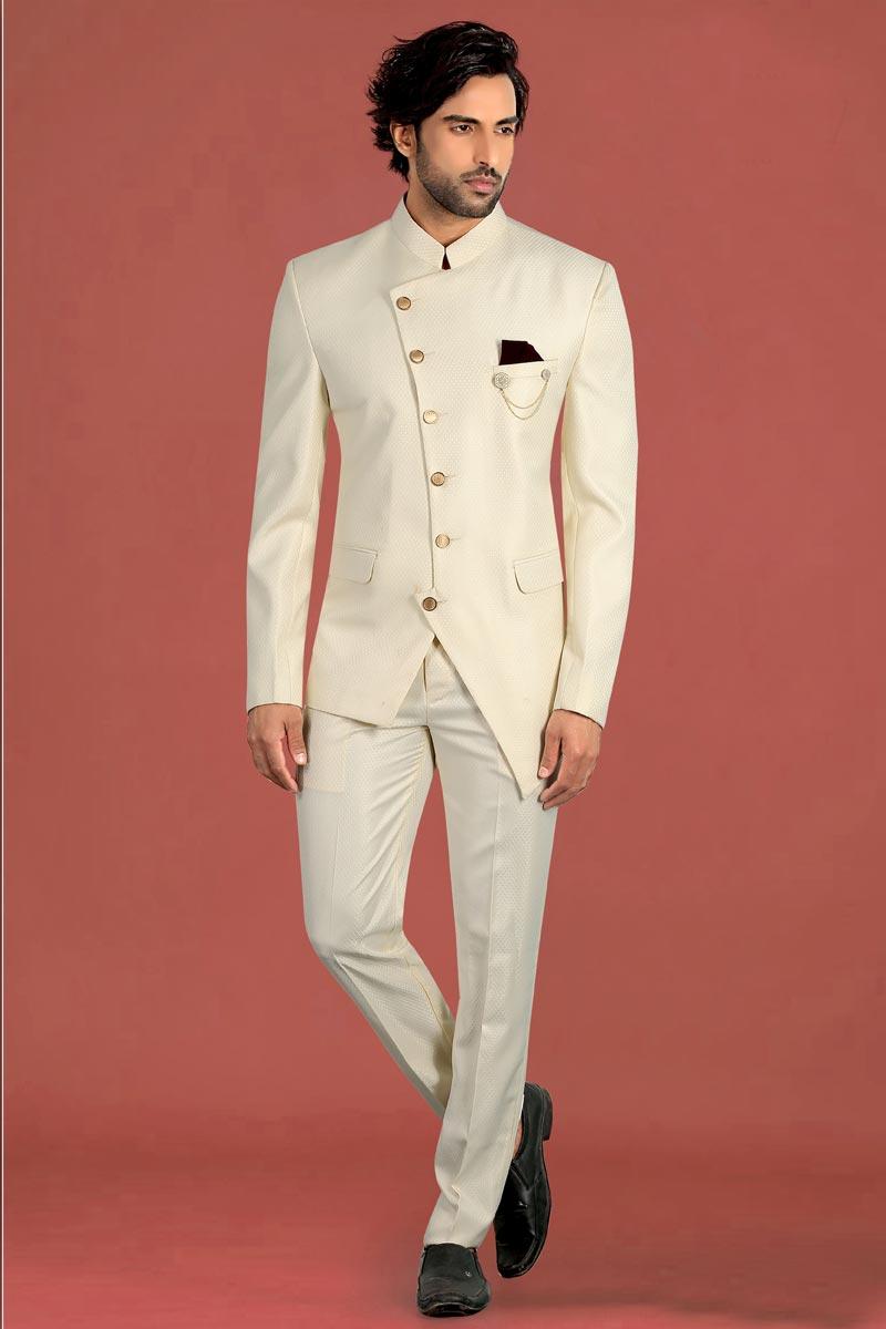 Beige Color Fancy Fabric Reception Wear Jodhpuri Suit For Men