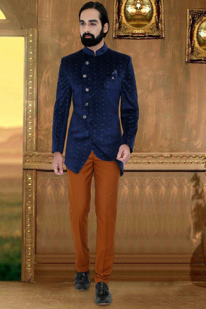 Navy Blue Color Velvet Fabric Party Wear Jodhpuri Suit For Men