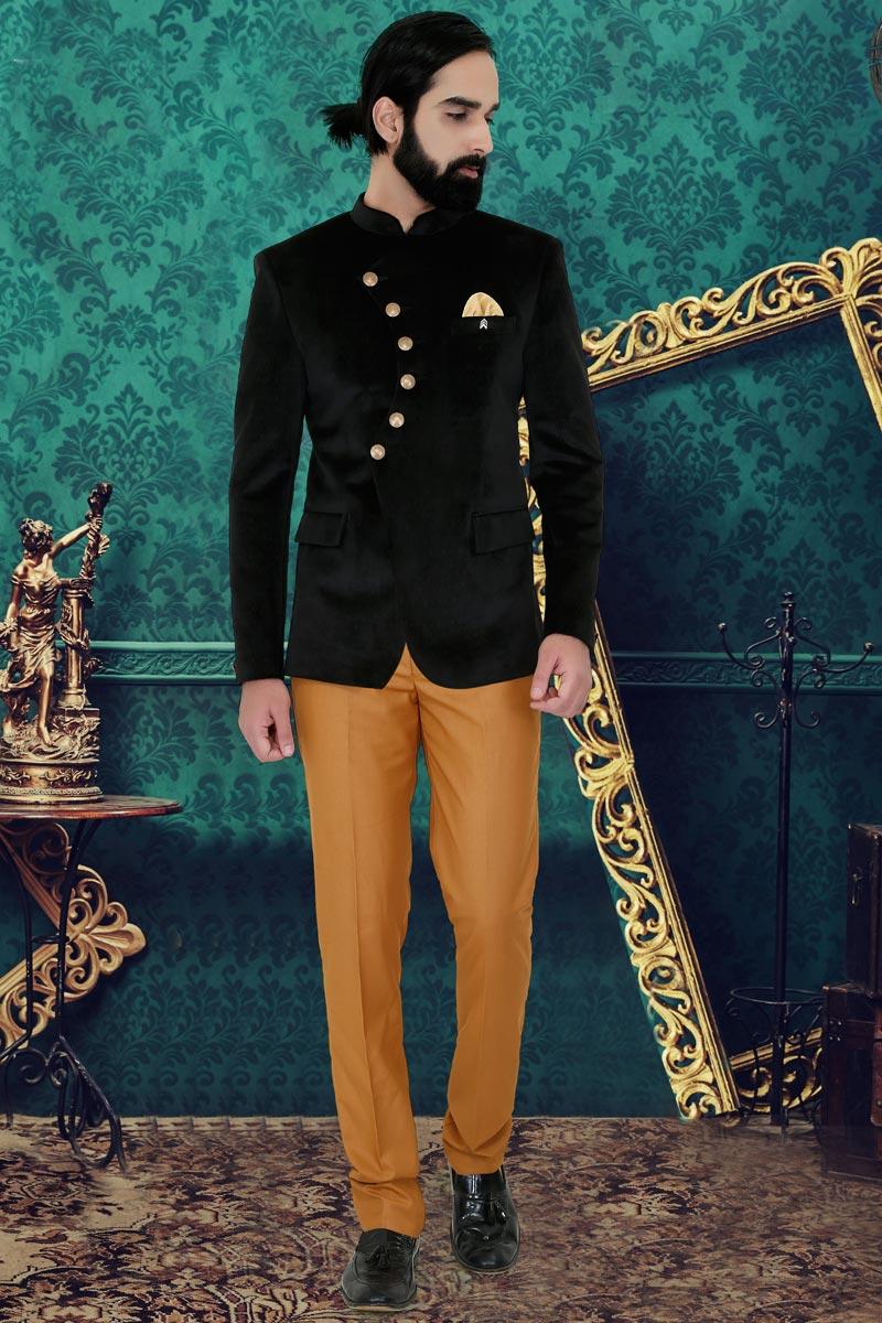 Black Color Velvet Fabric Wedding Wear Jodhpuri Suit For Men