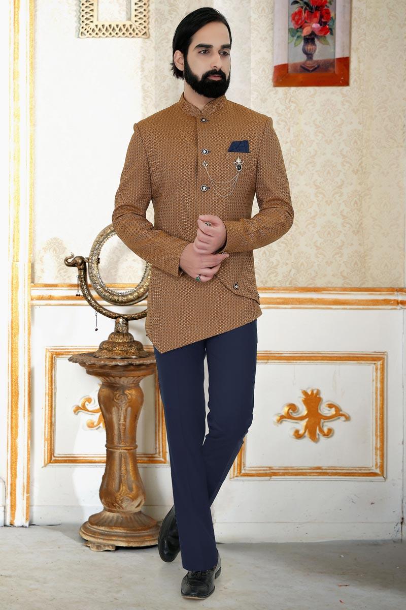 Chikoo Color Jacquard Fabric Reception Wear Jodhpuri Suit For Men