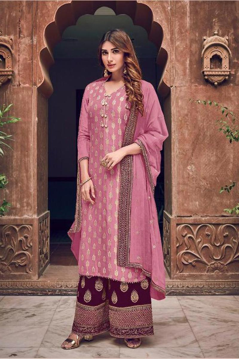 Georgette Fabric Party Style Pink Color Chic Embroidered Palazzo Suit