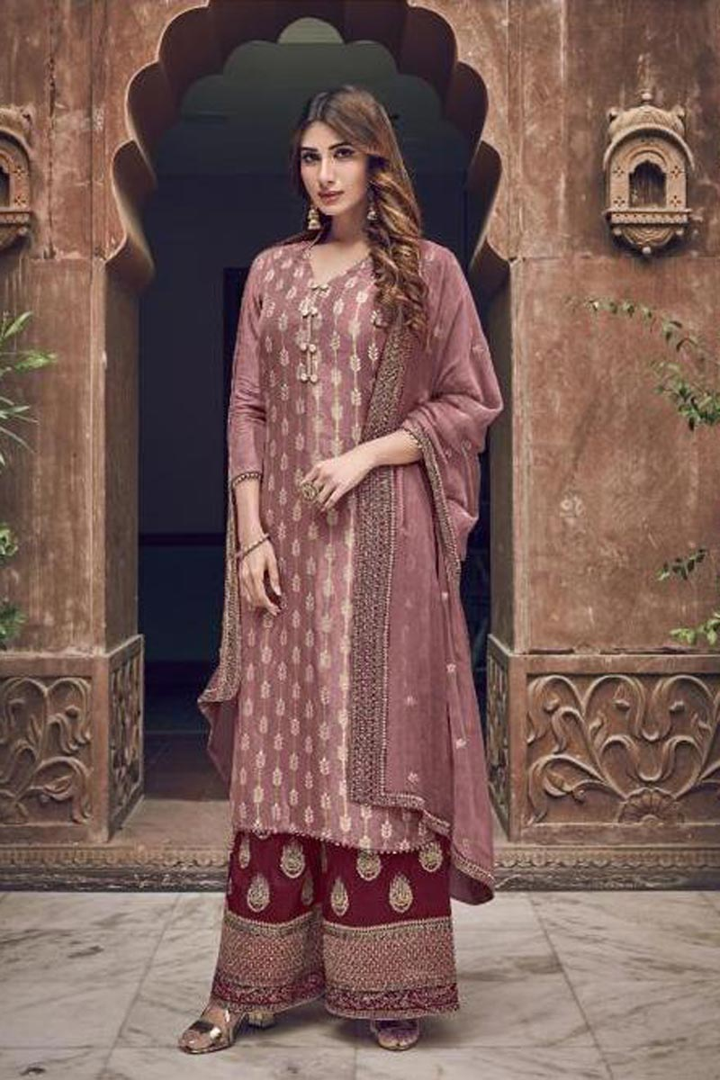 Wine Color Georgette Fabric Party Style Chic Embroidered Palazzo Dress