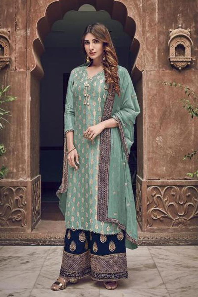 Georgette Fabric Party Style Chic Embroidered Palazzo Dress In Cyan Color