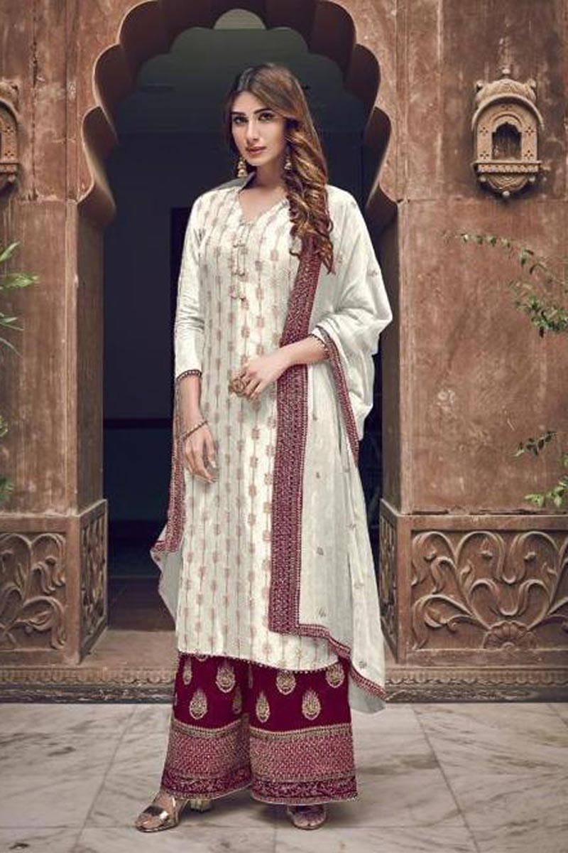 Party Style Georgette Fabric Off White Color Chic Embroidered Palazzo Suit