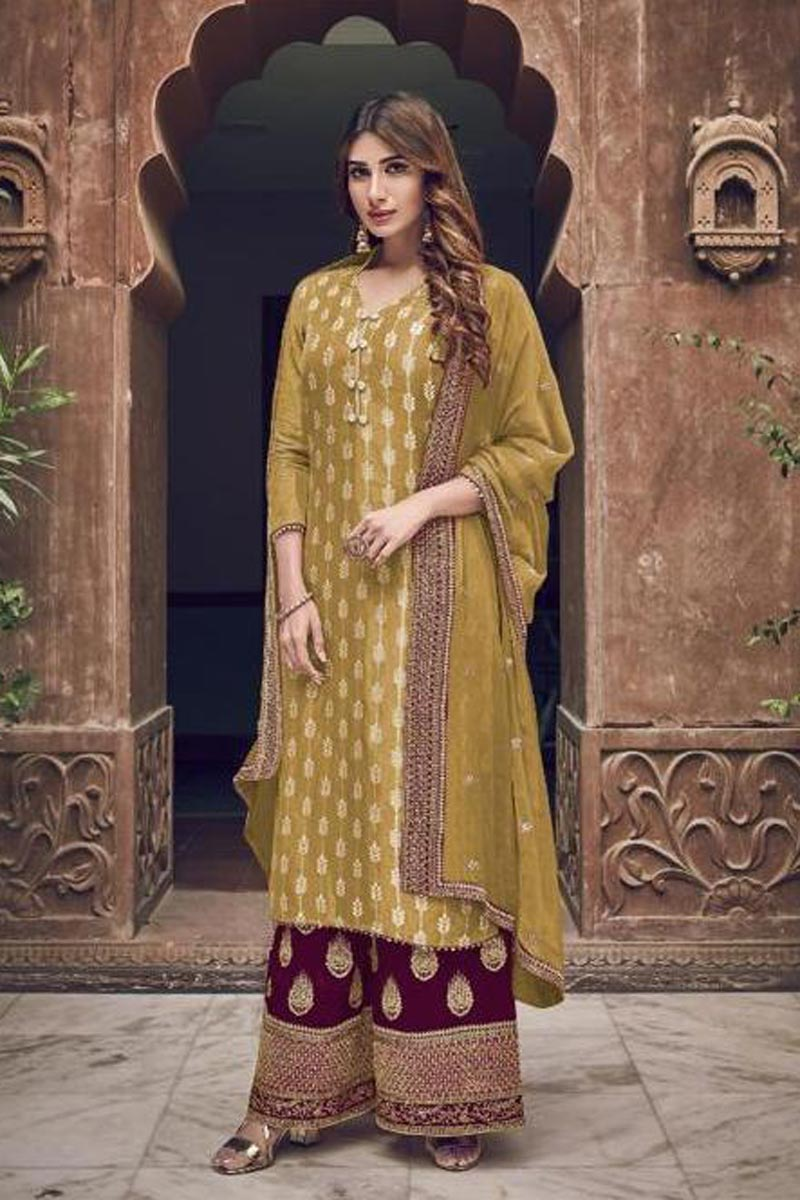 Mustard Color Party Style Chic Embroidered Georgette Fabric Palazzo Suit