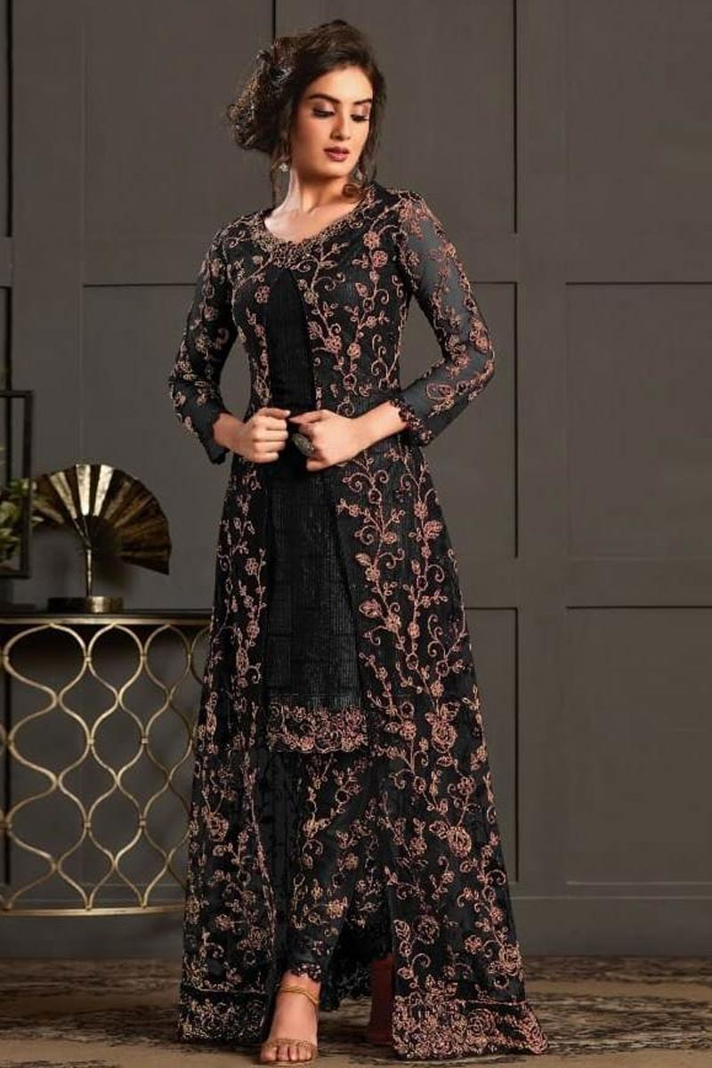 Black Color Net Fabric Party Wear Designer Suit