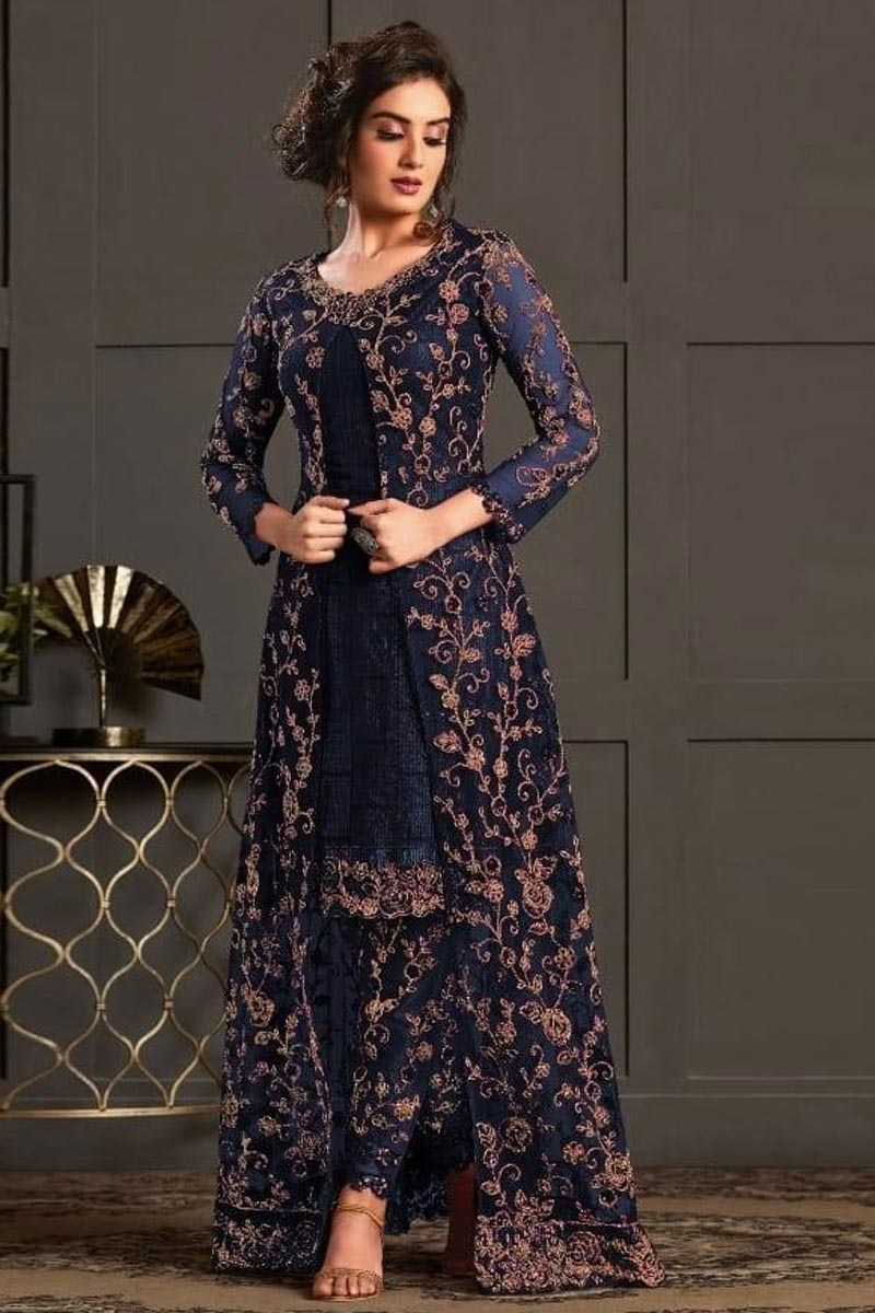 Net Fabric Function Wear Designer Suit In Navy Blue Color