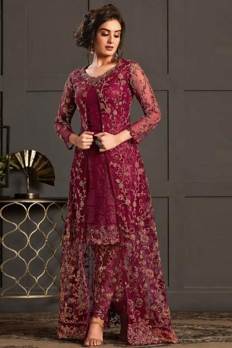 Festive Wear Designer Salwar Suit In Wine Color Net Fabric