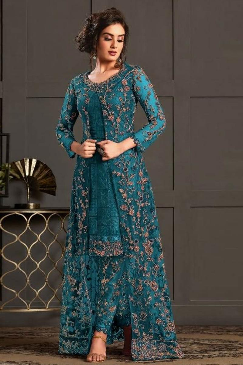 Teal Color Net Fabric Sangeet Wear Designer Salwar Kameez
