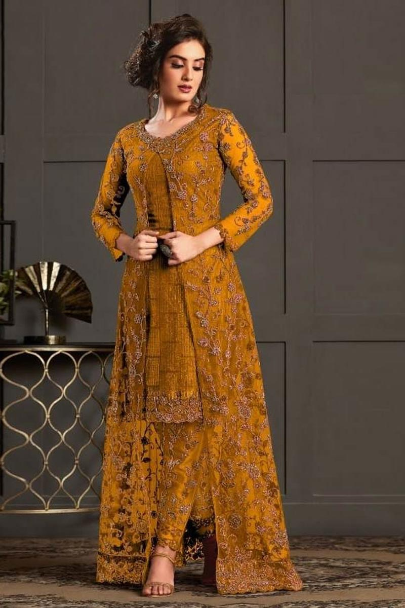 Net Fabric Wedding Wear Designer Suit In Mustard Color