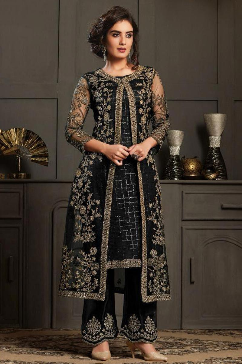 Black Color Net Fabric Party Wear Designer Anarkali Suit
