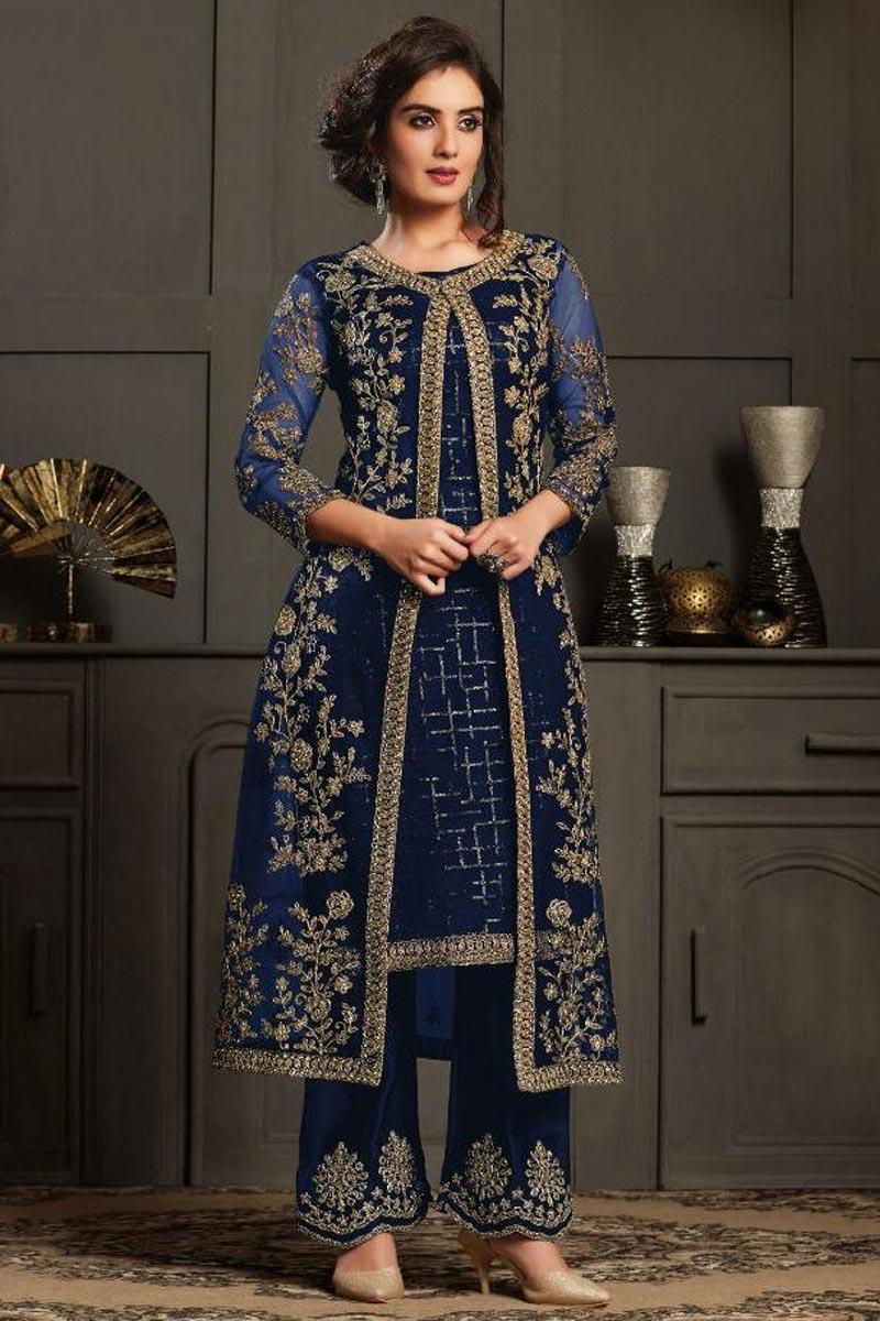 Net Fabric Function Wear Designer Anarkali Suit In Navy Blue Color