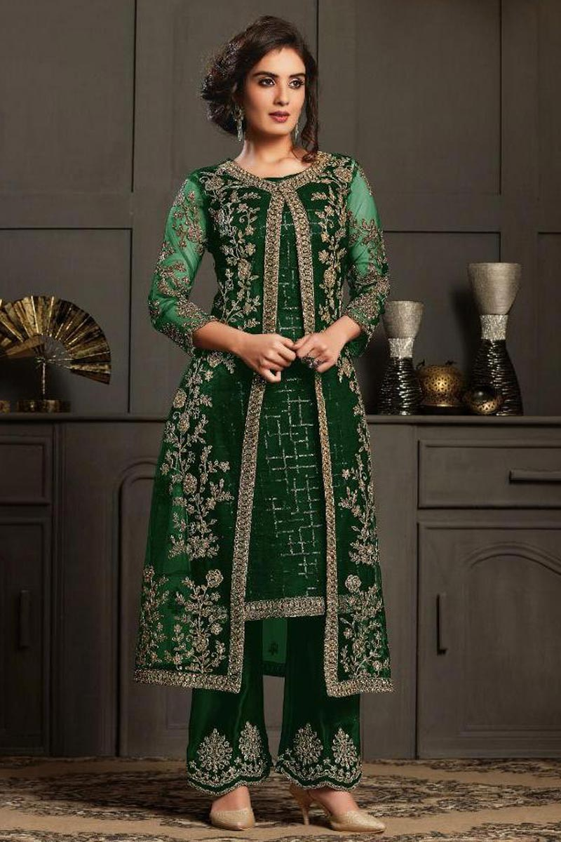 Festive Wear Designer Anarkali Salwar Suit In Dark Green Color Net Fabric