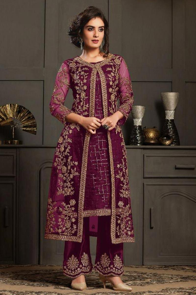 Wine Color Net Fabric Sangeet Wear Designer Anarkali Salwar Kameez