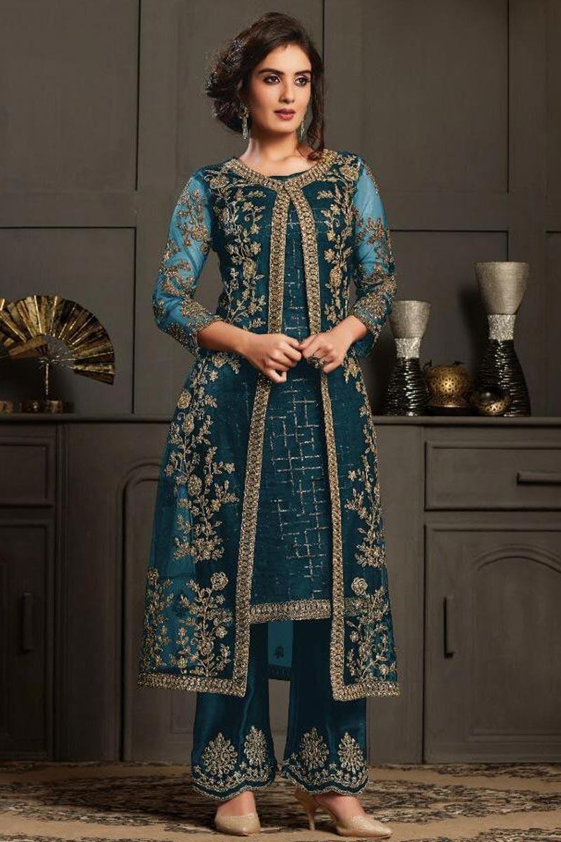 Net Fabric Wedding Wear Designer Anarkali Suit In Teal Color
