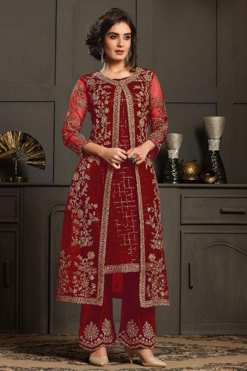 Reception Wear Designer Anarkali Suit In Red Color Net Fabric
