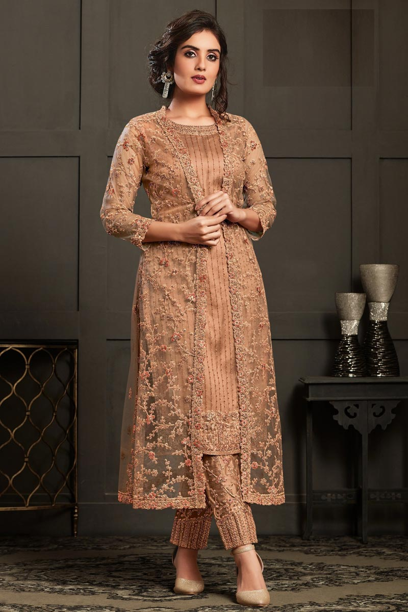 Party Wear Peach Color Embroidered Straight Cut Suit In Net Fabric