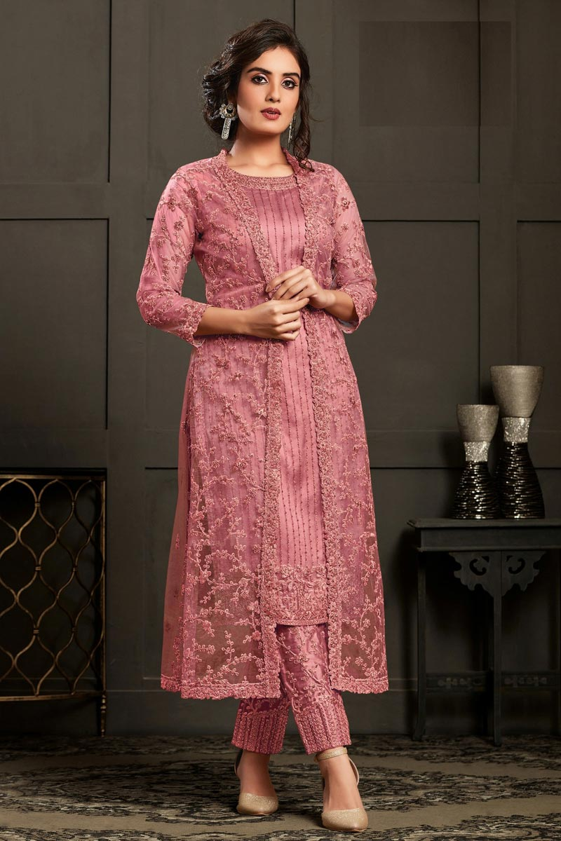 Pink Color Party Wear Embroidered Net Fabric Straight Cut Dress