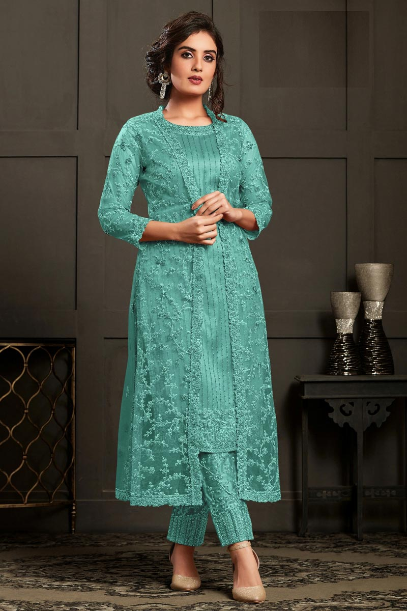 Cyan Color Party Wear Embroidered Straight Cut Suit In Net Fabric