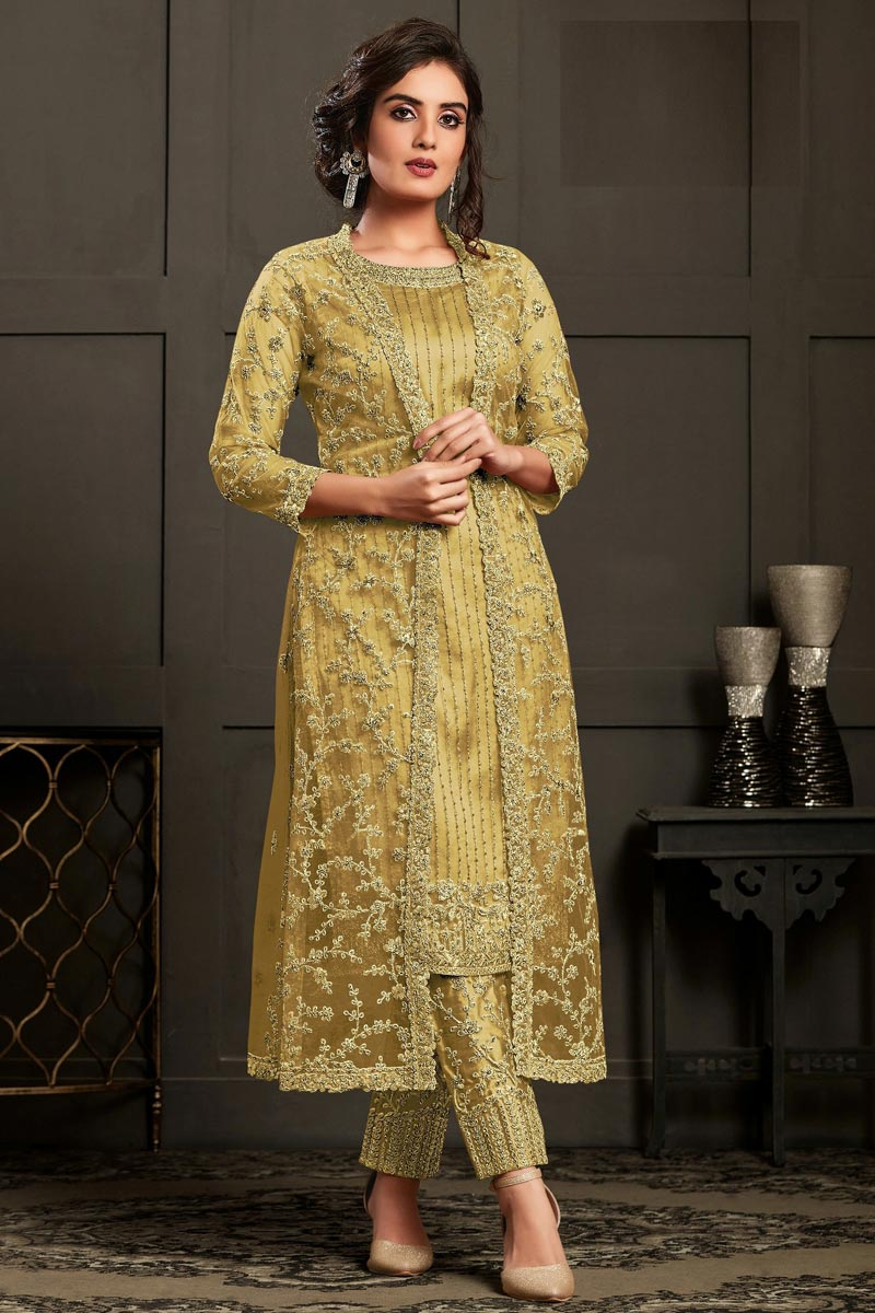 Party Wear Yellow Color Net Fabric Embroidered Straight Cut Dress