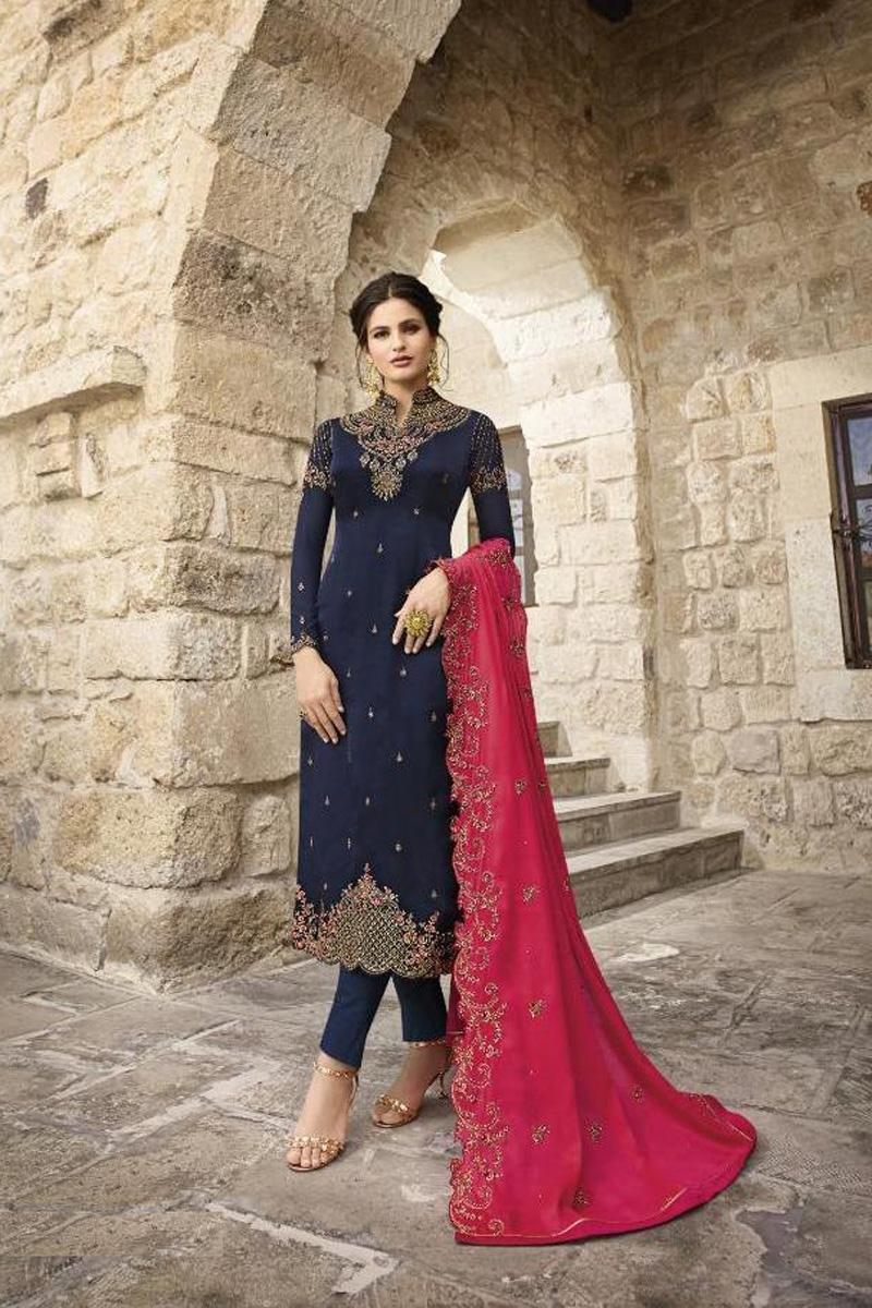 Festive Wear Navy Blue Fancy Embroidered Straight Cut Satin Georgette Fabric Dress