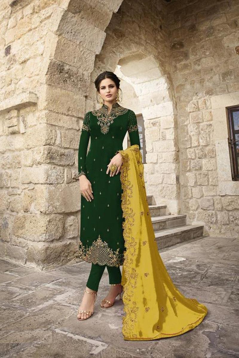 Festive Wear Dark Green Satin Georgette Fabric Fancy Embroidered Straight Cut Dress