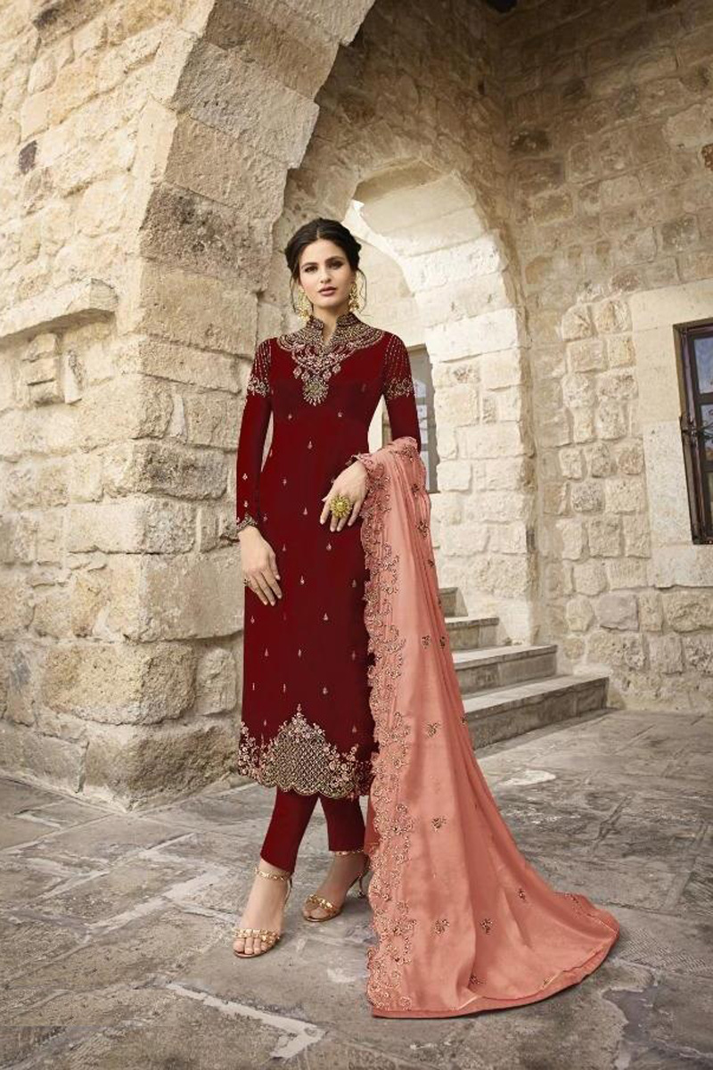 Satin Georgette Fabric Festive Wear Fancy Embroidered Straight Cut Suit In Maroon