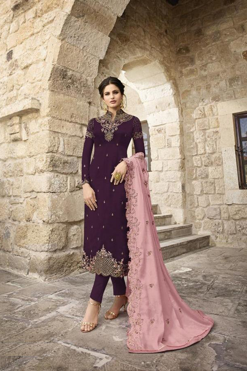 Purple Festive Wear Fancy Embroidered Straight Cut Suit In Satin Georgette Fabric