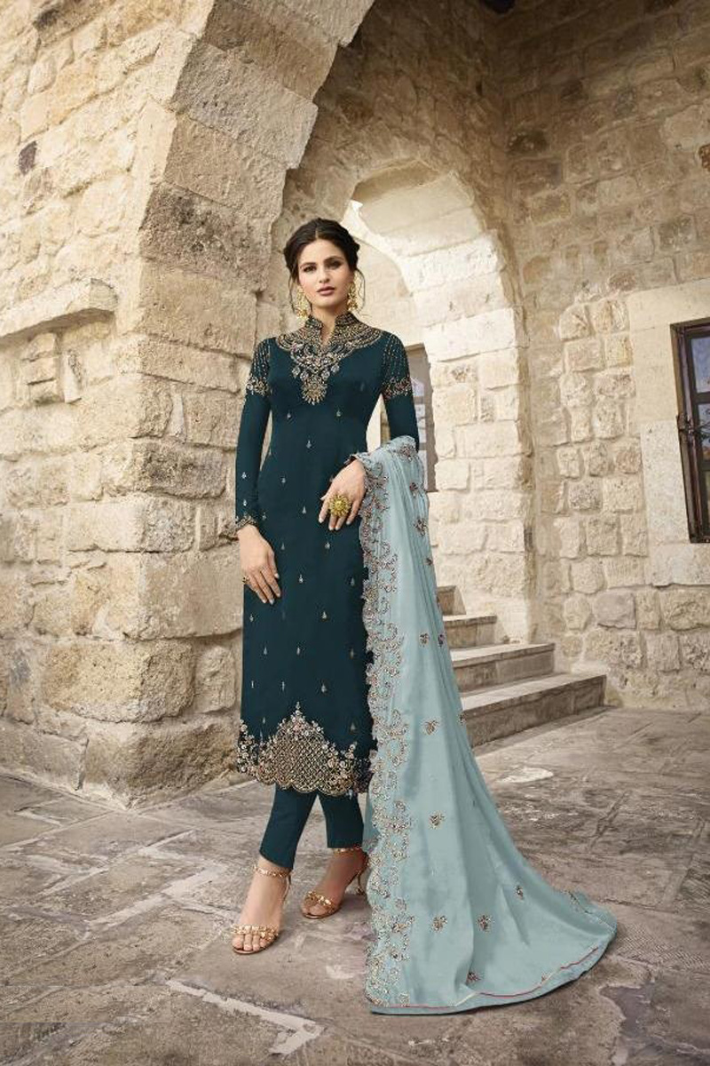 Festive Wear Teal Fancy Embroidered Straight Cut Suit In Satin Georgette Fabric