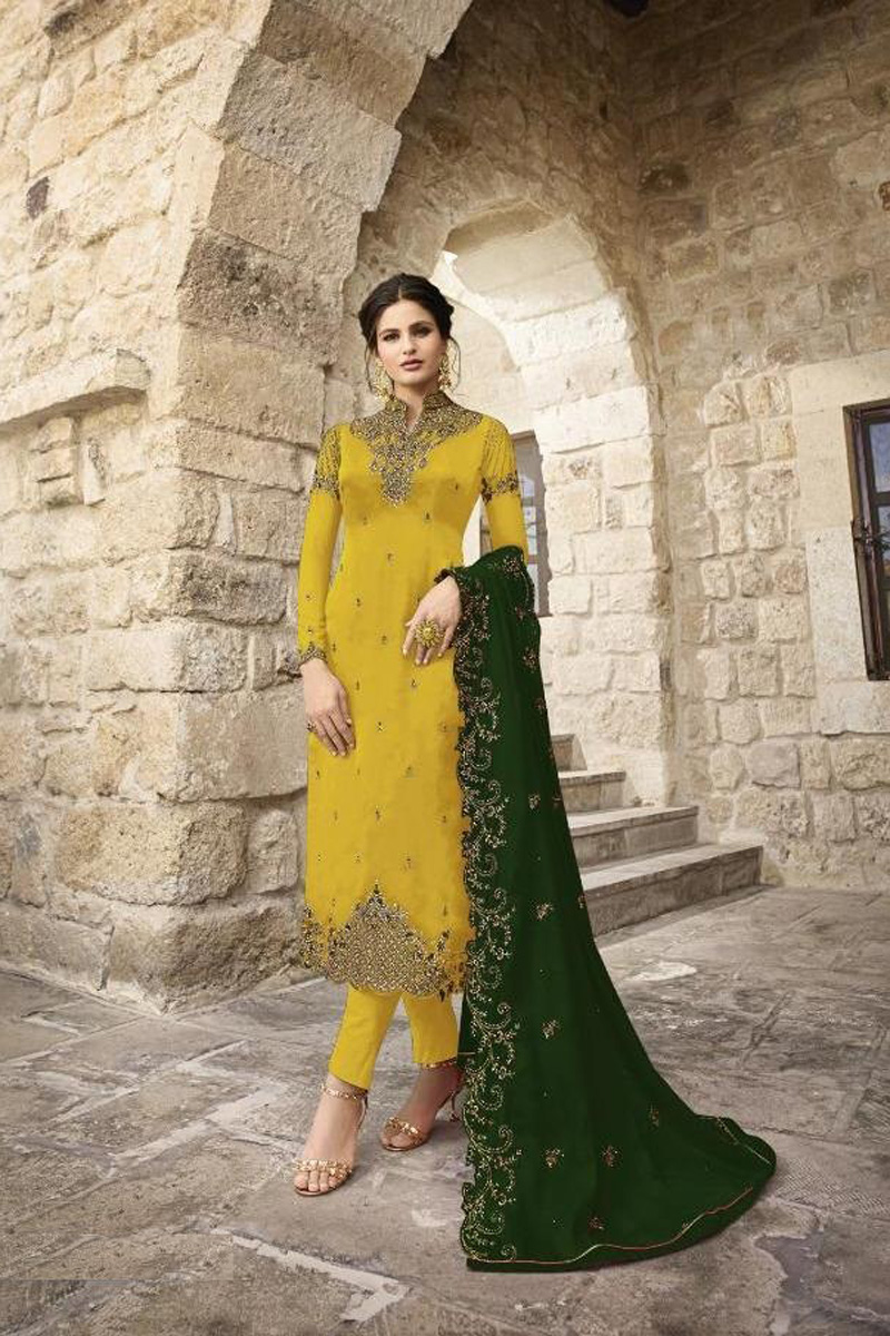 Yellow Festive Wear Fancy Embroidered Satin Georgette Fabric Straight Cut Dress